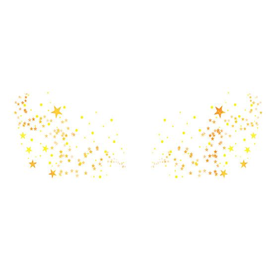Flashy Freckle Faces- Orange & Gold Stars Design Water Transfer Temporary Tattoo(fake Tattoo) Stickers NO.12608