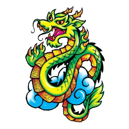 Metallic Classic Dragon Design Water Transfer Temporary Tattoo(fake Tattoo) Stickers NO.14189