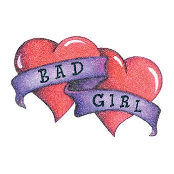 Glitter Bad Girl Hearts Design Water Transfer Temporary Tattoo(fake Tattoo) Stickers NO.14302
