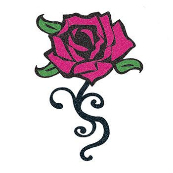 Glitter Black and Pink Rose Design Water Transfer Temporary Tattoo(fake Tattoo) Stickers NO.14308