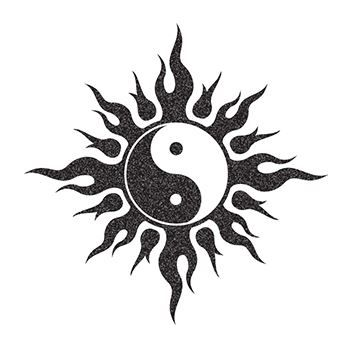 Glitter Black and White Yin Yang Design Water Transfer Temporary Tattoo(fake Tattoo) Stickers NO.14311