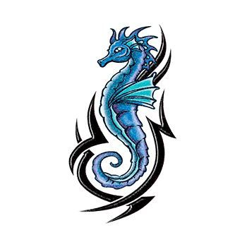 Glitter Blue and Black Tribal Seahorse Design Water Transfer Temporary Tattoo(fake Tattoo) Stickers NO.14320