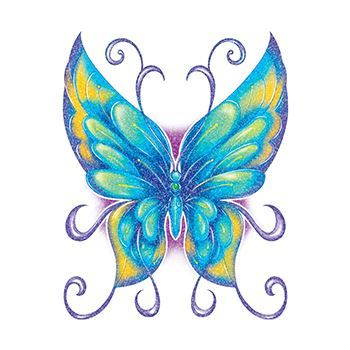 Glitter Blue and Green Butterfly Design Water Transfer Temporary Tattoo(fake Tattoo) Stickers NO.14322