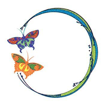 Glitter Blue and Orange Butterfly Circle Design Water Transfer Temporary Tattoo(fake Tattoo) Stickers NO.14324