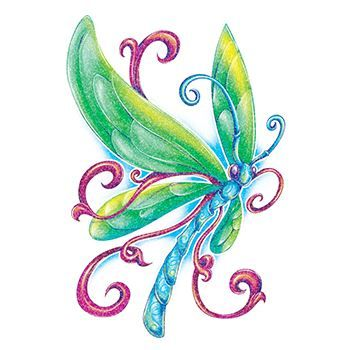 Glitter Blue Dragonfly Design Water Transfer Temporary Tattoo(fake Tattoo) Stickers NO.14328