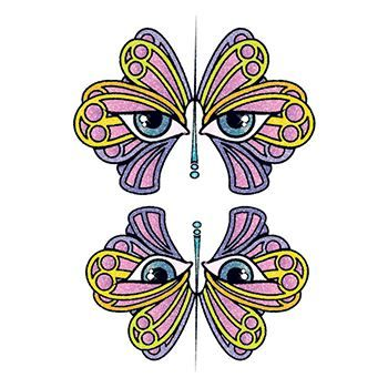 Glitter Butterfly Eyes Design Water Transfer Temporary Tattoo(fake Tattoo) Stickers NO.14323