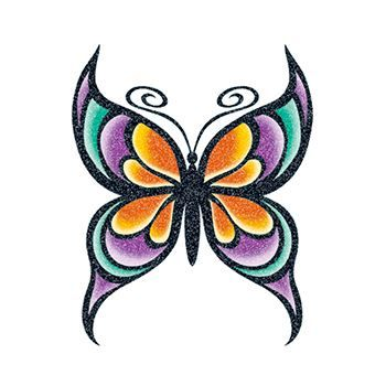 Glitter Colorful Butterfly Design Water Transfer Temporary Tattoo(fake Tattoo) Stickers NO.13803