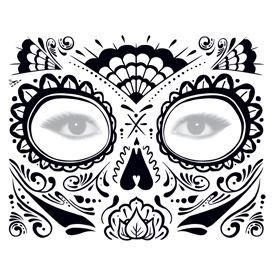 Glitter Day of the Dead Face Design Water Transfer Temporary Tattoo(fake Tattoo) Stickers NO.12922