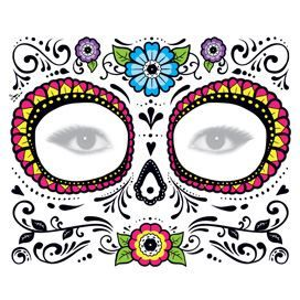 Glitter Day of the Dead Floral Face Design Water Transfer Temporary Tattoo(fake Tattoo) Stickers NO.12918