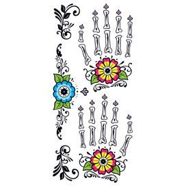 Glitter Day of the Dead Floral Hands Design Water Transfer Temporary Tattoo(fake Tattoo) Stickers NO.13329
