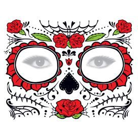 Glitter Day of the Dead Red Rose Face Design Water Transfer Temporary Tattoo(fake Tattoo) Stickers NO.12912