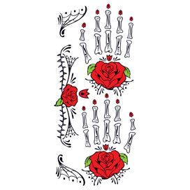 Glitter Day of the Dead Red Rose Hands Design Water Transfer Temporary Tattoo(fake Tattoo) Stickers NO.12927