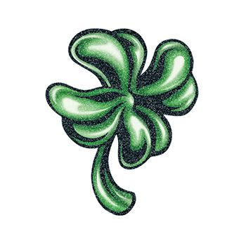 Glitter Detailed Four Leaf Clover Design Water Transfer Temporary Tattoo(fake Tattoo) Stickers NO.13408