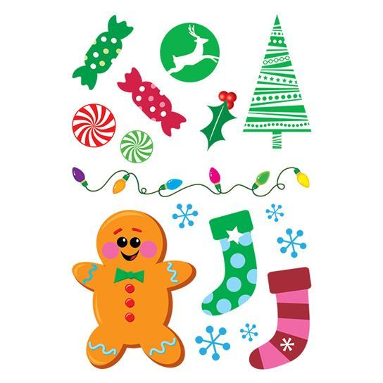 Glitter Gingerbread Christmas Sheet Design Water Transfer Temporary Tattoo(fake Tattoo) Stickers NO.12898