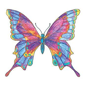 Glitter Multicolored Butterfly Design Water Transfer Temporary Tattoo(fake Tattoo) Stickers NO.13664