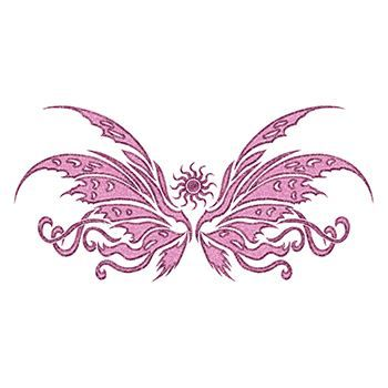 Glitter Pink Wing Lower Back Design Water Transfer Temporary Tattoo(fake Tattoo) Stickers NO.12485