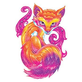 Glitter Purple and Orange Fox Design Water Transfer Temporary Tattoo(fake Tattoo) Stickers NO.14368