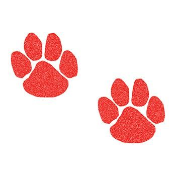 Glitter Red Paw Printss Design Water Transfer Temporary Tattoo(fake Tattoo) Stickers NO.15196