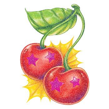 Glitter Star Cherries Design Water Transfer Temporary Tattoo(fake Tattoo) Stickers NO.14384