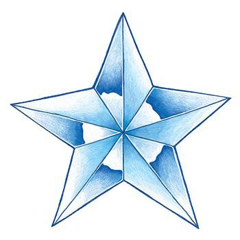 Glow in the Dark Blue Star Design Water Transfer Temporary Tattoo(fake Tattoo) Stickers NO.14425
