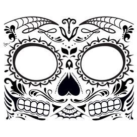 Glow in the Dark Day of the Dead Face Design Water Transfer Temporary Tattoo(fake Tattoo) Stickers NO.12925