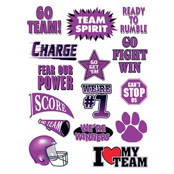 Go Team Purple Set of Sports Design Water Transfer Temporary Tattoo(fake Tattoo) Stickers NO.13145