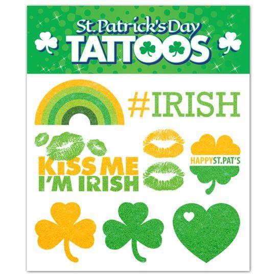 Gold Glitter St. Paddy's Day Sheets Design Water Transfer Temporary Tattoo(fake Tattoo) Stickers NO.13424