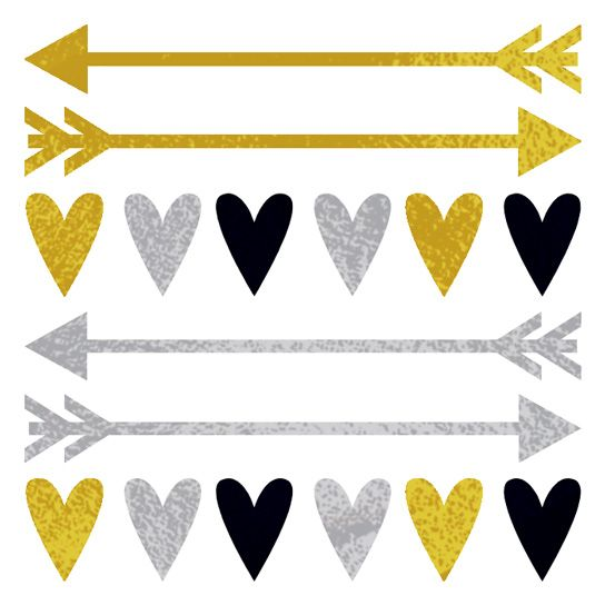 Gold and Silver Hearts and Arrowss Design Water Transfer Temporary Tattoo(fake Tattoo) Stickers NO.14220