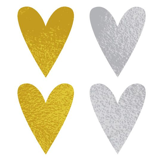 Gold and Silver Hearts Design Water Transfer Temporary Tattoo(fake Tattoo) Stickers NO.14204