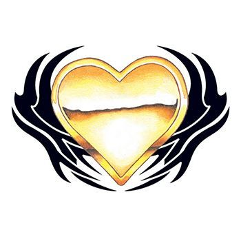 Golden Tribal Heart Design Water Transfer Temporary Tattoo(fake Tattoo) Stickers NO.12147