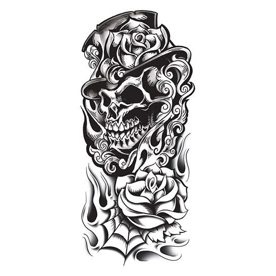Grim Reaper Black & White Skull Design Water Transfer Temporary Tattoo(fake Tattoo) Stickers NO.12648