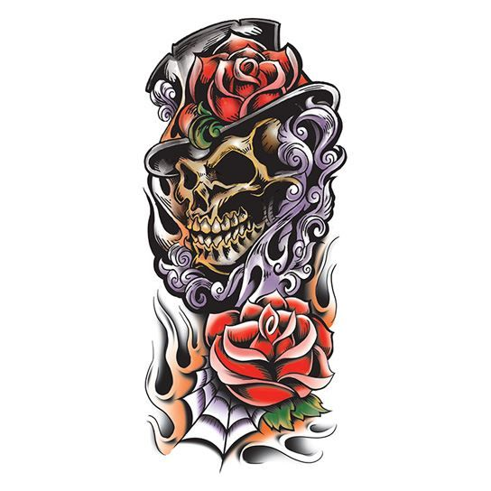 Grim Reaper Colored Skull Design Water Transfer Temporary Tattoo(fake Tattoo) Stickers NO.12646