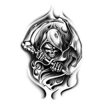 Black Grim Reaper Design Water Transfer Temporary Tattoo(fake Tattoo) Stickers NO.13349