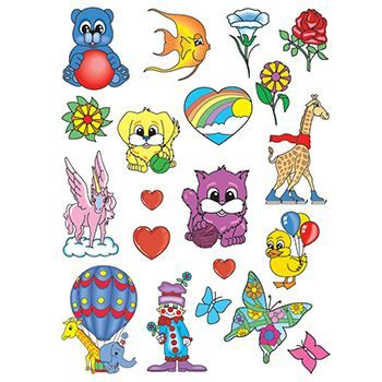 Happy Animals Kids Set ofs Design Water Transfer Temporary Tattoo(fake Tattoo) Stickers NO.13689