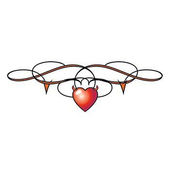 Heart with Barbed Wire Lower Back Design Water Transfer Temporary Tattoo(fake Tattoo) Stickers NO.12416