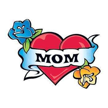 Heart with Mom Banner Design Water Transfer Temporary Tattoo(fake Tattoo) Stickers NO.12418