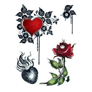 Hearts and Roses Design Water Transfer Temporary Tattoo(fake Tattoo) Stickers NO.12649