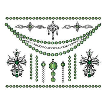 Jade Crosses Jewelry Set Design Water Transfer Temporary Tattoo(fake Tattoo) Stickers NO.13403