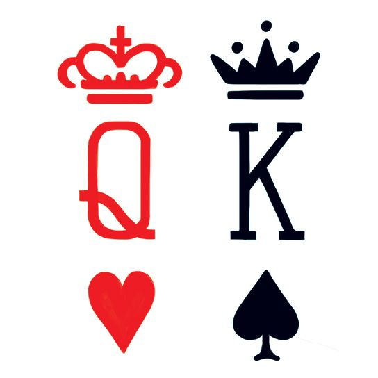 King & Queen Card Suits Design Water Transfer Temporary Tattoo(fake Tattoo) Stickers NO.13455