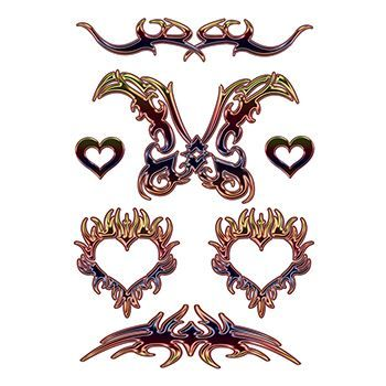 Large Tribal Hearts Design Water Transfer Temporary Tattoo(fake Tattoo) Stickers NO.12657