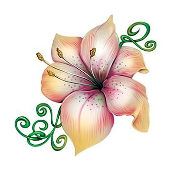 Lily Flower and Vine Design Water Transfer Temporary Tattoo(fake Tattoo) Stickers NO.12943
