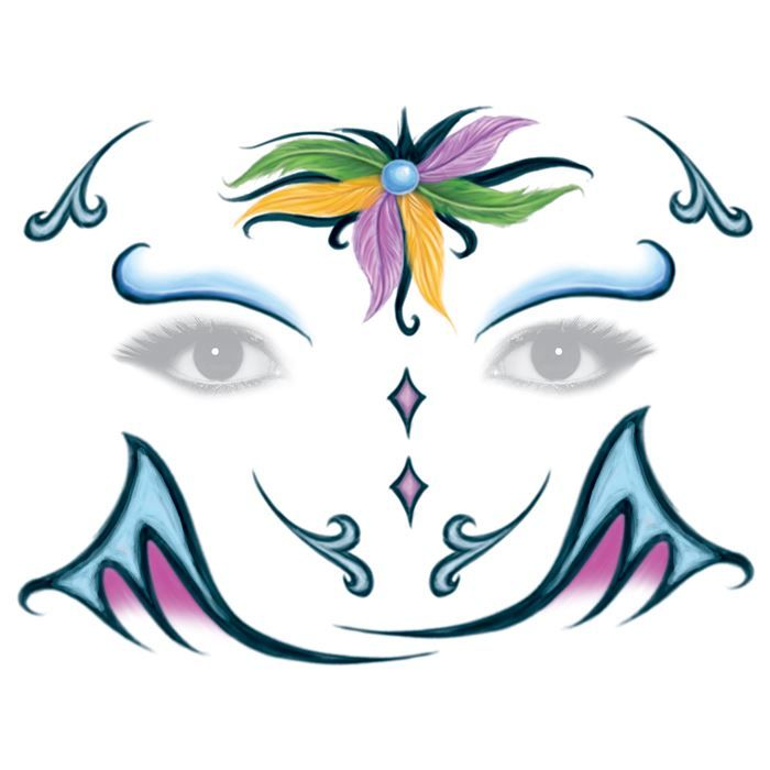 Mardi Gras Feather Face Design Water Transfer Temporary Tattoo(fake Tattoo) Stickers NO.14290