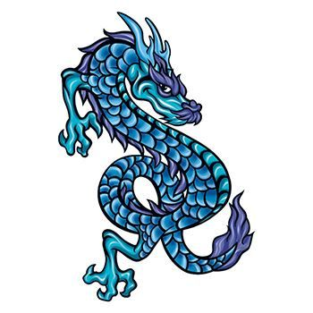 Mythical Blue Scaly Dragon Design Water Transfer Temporary Tattoo(fake Tattoo) Stickers NO.11912