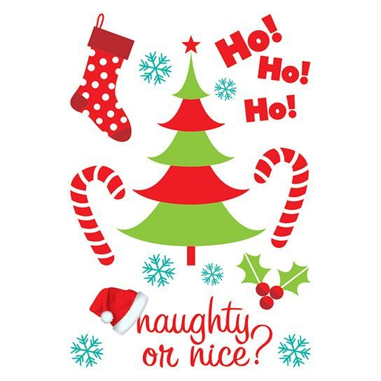 Naughty or Nice Glitter Holiday Sheet Design Water Transfer Temporary Tattoo(fake Tattoo) Stickers NO.12899