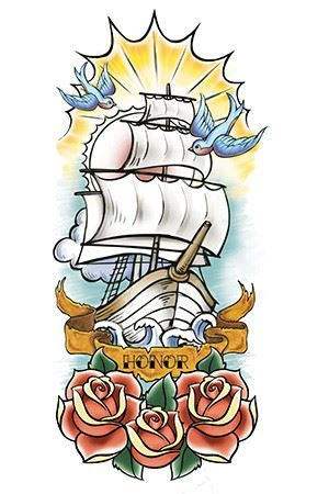Nautical Sailboat Sleeve Design Water Transfer Temporary Tattoo(fake Tattoo) Stickers NO.12654