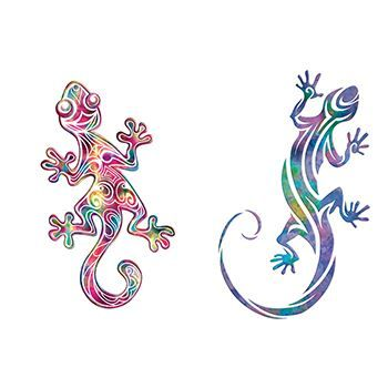 Pair of Geckoss Design Water Transfer Temporary Tattoo(fake Tattoo) Stickers NO.13564