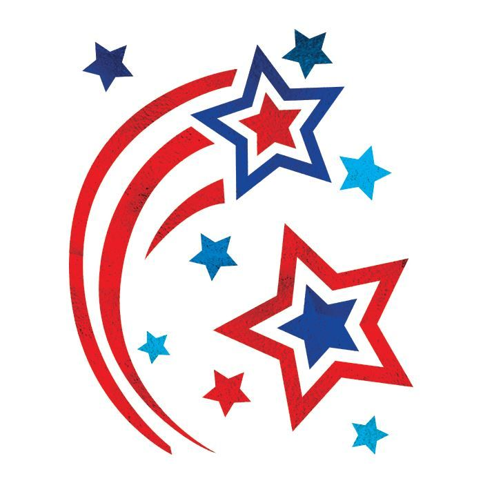 Patriotic Metallic Shooting Star Design Water Transfer Temporary Tattoo(fake Tattoo) Stickers NO.12046