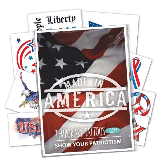 Patriotic Pack ofs Design Water Transfer Temporary Tattoo(fake Tattoo) Stickers NO.12032