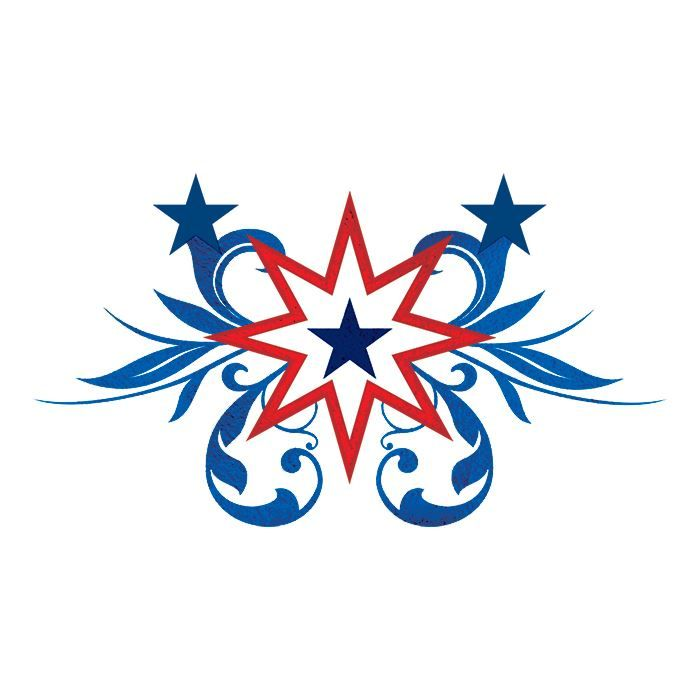 Patriotic Starburst Metallic Design Water Transfer Temporary Tattoo(fake Tattoo) Stickers NO.12044