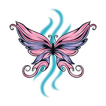 Pink and Purple Butterfly Design Water Transfer Temporary Tattoo(fake Tattoo) Stickers NO.13767